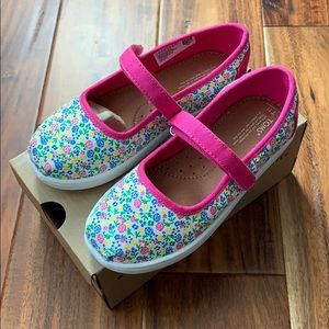 TOMS Toddler Mary Jane Shoes - Pink Floral - Sz 11
